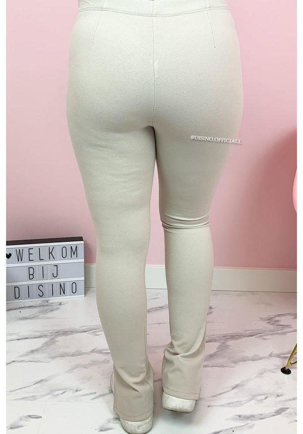 BEIGE - 'NOELLE' - PERFECT SIDE SPLIT PANTS