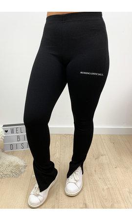 BLACK - 'NOELLE' - HIGH WAIST SIDE SPLIT PANTS