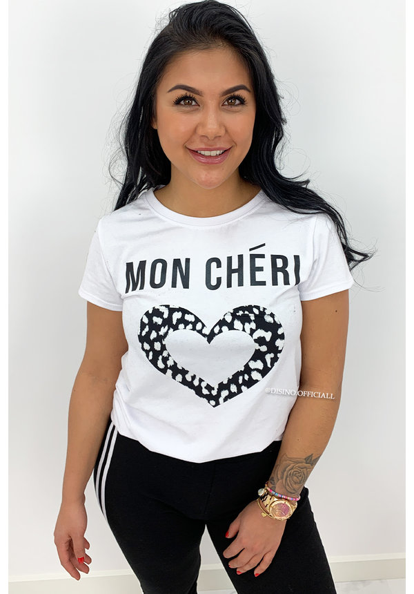 BLACK - 'MON CHERI' - LEO HEART TEE
