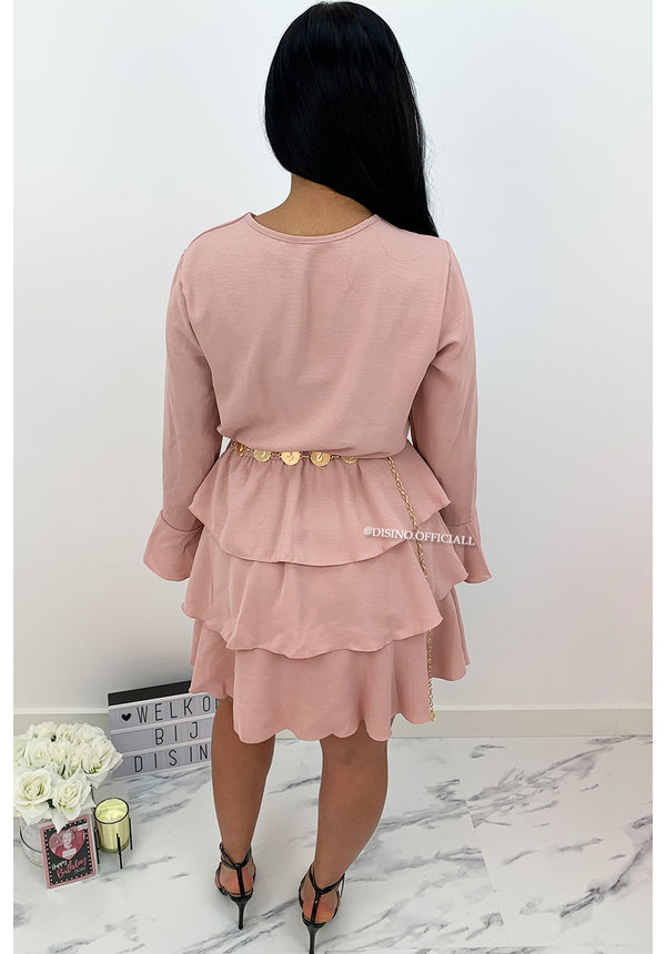 PINK - 'BLOSSOM' - LAYERED RUFFLE DRESS