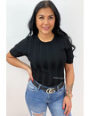 BLACK - 'SABINE' - RIBBED SHORT SLEEVE TOP