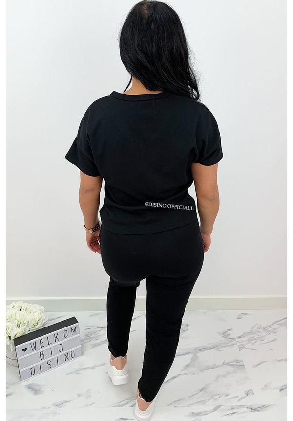BLACK - 'SENNA' - V NECK COMFY SET