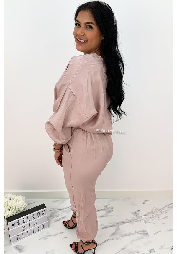PINK - 'JAYDEY' - SILKY COMFY TWO PIECE SET