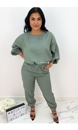 GREEN - 'JAYDEY' - SILKY COMFY TWO PIECE SET