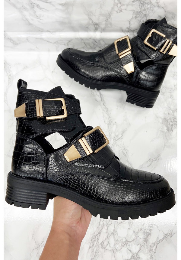 BLACK CROCO - 'BOOTS WITH AIR' - GOLD GESP BOOTS