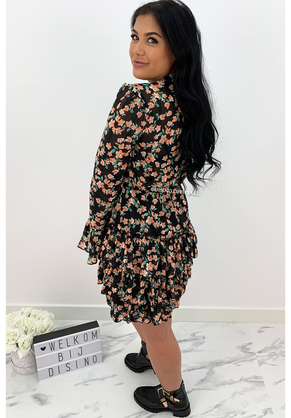 BLACK - 'LIVV' - FLORAL PRINT LAYERED RUFFLE DRESS