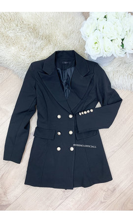 BLACK - 'CHRYSTEL' - DOUBLE BREASTED GOLD BUTTON BLAZER DRESS
