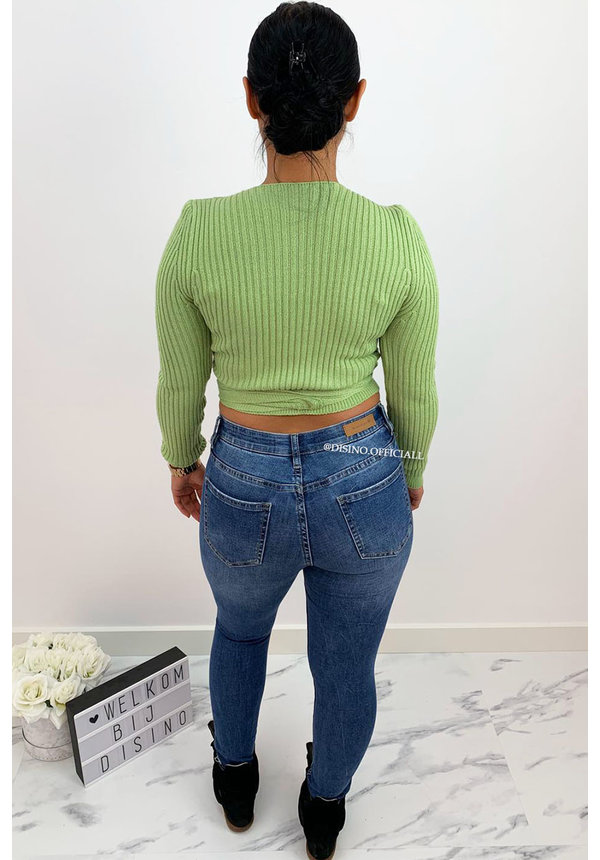 GREEN - 'MILA' - SOFT TOUCH KNIT WIKKEL TOP