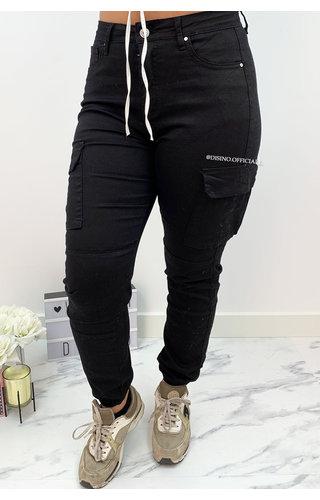 BLACK - 'NOVA' - SUPER STRETCH DENIM CARGO PANTS