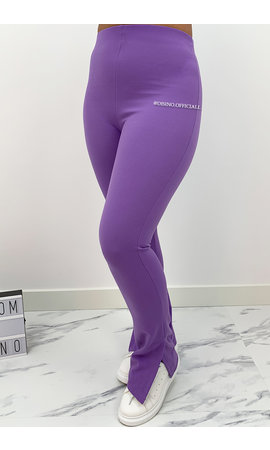 PURPLE - 'NOELLE' - HIGH WAIST SIDE SPLIT PANTS