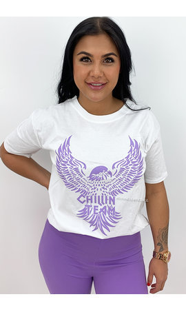 WHITE LILA - 'CHILLIN TEAM' - EAGLE PRINT TEE