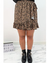 BROWN - 'PAIGE' - LEOPARD WRAP MINI RUFFLE SKIRT