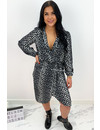 GREY - 'LUANA' - LEO PRINT LONG SLEEVE DRESS
