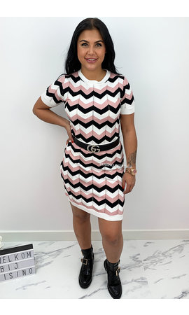 PINK - 'ESTELLE' - INSPIRED ZIGZAG TWO PIECE SET