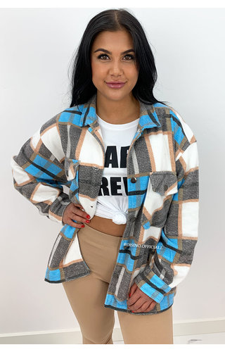 BLUE - 'CHECKED SARINA' - COZY OVERSIZED BLOUSE JACK