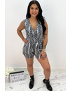 GREY - 'LILIAN' - SOFT TOUCH SNAKE PRINT PLAYSUIT