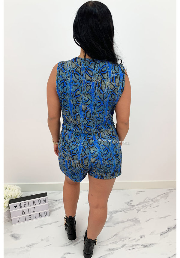 BLUE - 'LILIAN' - SOFT TOUCH SNAKE PRINT PLAYSUIT