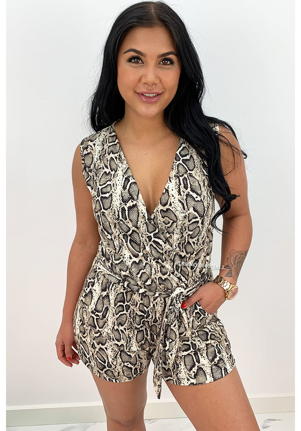 BEIGE - 'LILIAN' - SOFT TOUCH SNAKE PRINT PLAYSUIT
