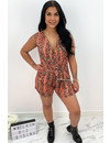 PEACH - 'LILIAN' - SOFT TOUCH SNAKE PRINT PLAYSUIT