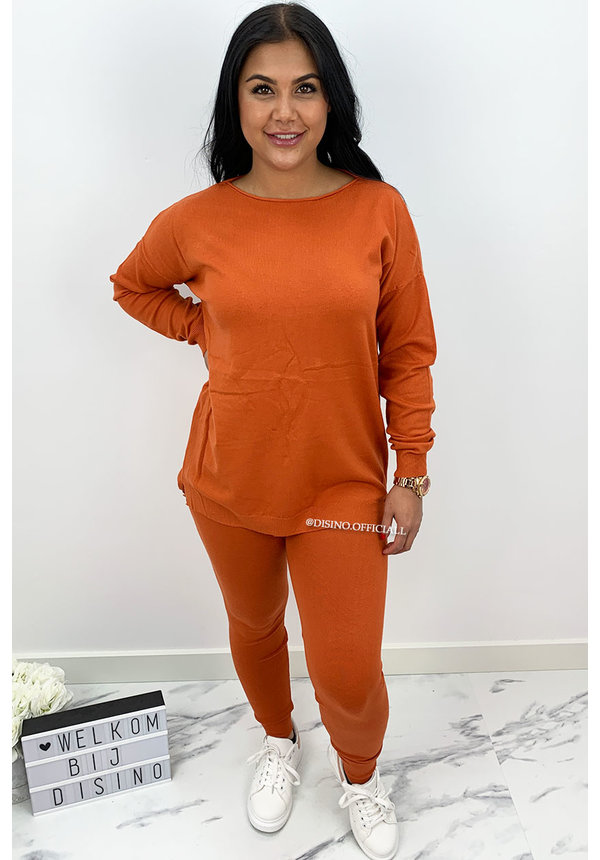 RUST - 'KAYLEE' - FASHIONABLE SOFT COMFY SUIT