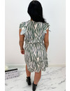 KHAKI GREEN - 'SABRINA SHORT' - ZEBRA PRINT RUFFLE DRESS