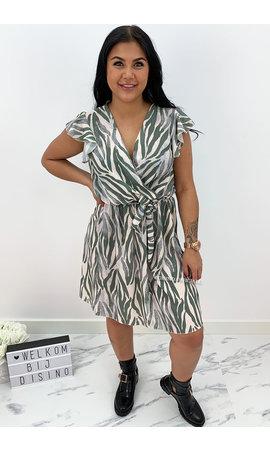 KHAKI GREEN - 'SABRINA SHORT' - ZEBRA PRINT RUFFLE DRESS