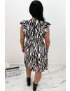 BLACK - 'SABRINA SHORT' - ZEBRA PRINT RUFFLE DRESS