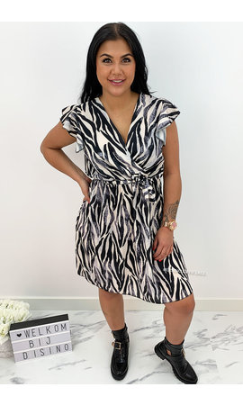 BLACK - 'SABRINA SHORT' - ZEBRA PRINT RUFFLE DRESS