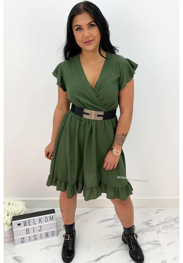 KHAKI GREEN - 'CHEYENNE' - BASIC SHORT RUFFLE DRESS