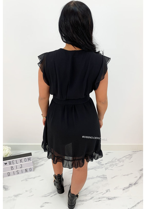BLACK - 'CHEYENNE' - BASIC SHORT RUFFLE DRESS