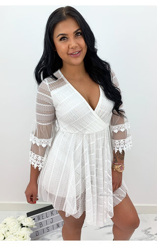 WHITE - 'AMY' - LUXE LACE COMBISHORT PLAYSUIT