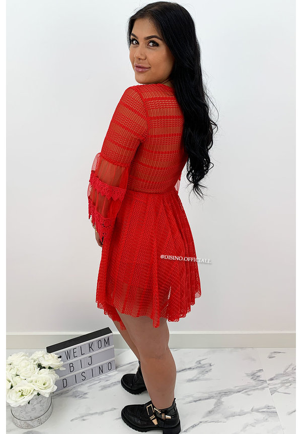 RED - 'AMY' - LUXE LACE COMBISHORT PLAYSUIT