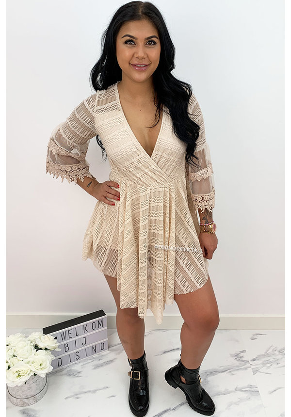 BEIGE - 'AMY' - LUXE LACE COMBISHORT PLAYSUIT