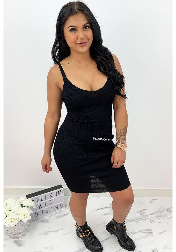 BLACK - 'VERA' - RIBBED DRESS