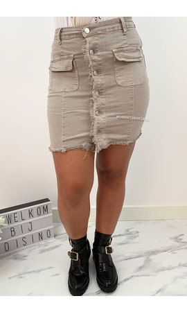 BEIGE - 'TINA' - DISTRESSED BUTTON DENIM SKIRT
