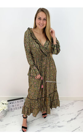 BLACK - 'FLORINDA' - LUXE BOHO CHIQUE LONG SLEEVE MAXI DRESS