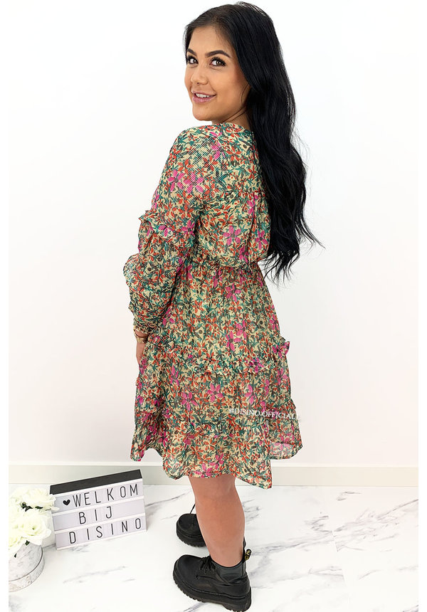 PINK - 'STEFFANIE' - LUXE FLORAL BOHO CHIQUE DRESS
