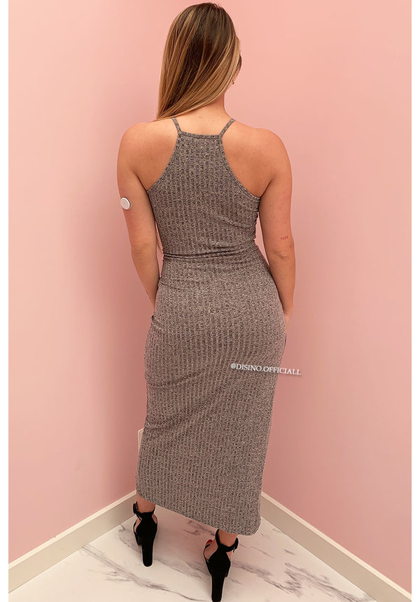 GREY - 'BAILEY' - RIBBED WRAP ON WING DRESS