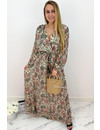 OLIVE GREEN - 'ESTHER' - LUXE FLORAL LONG SLEEVE MAXI DRESS