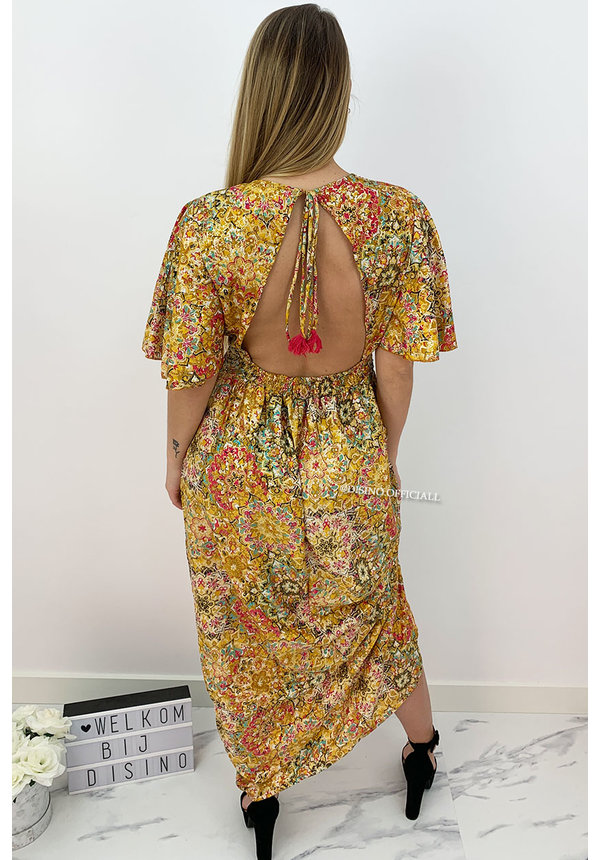 YELLOW - 'MAJORCA' - LUXE BOHO CHIQUE OPEN BACK MAXI DRESS