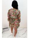 GREEN - 'AILANA' - GOLD DETAILS FLORAL LAYERED RUFFLE DRESS