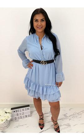 LIGHT BLUE - 'MELLS' - LAYERED RUFFLE DRESS