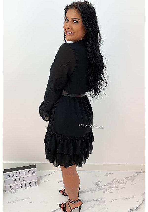 BLACK - 'MELLS' - LAYERED RUFFLE DRESS