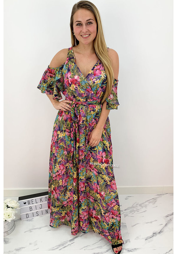 FUCHSIA - 'YOLANTHE' - LUXE FLORAL OPEN SHOULDER MAXI DRESS