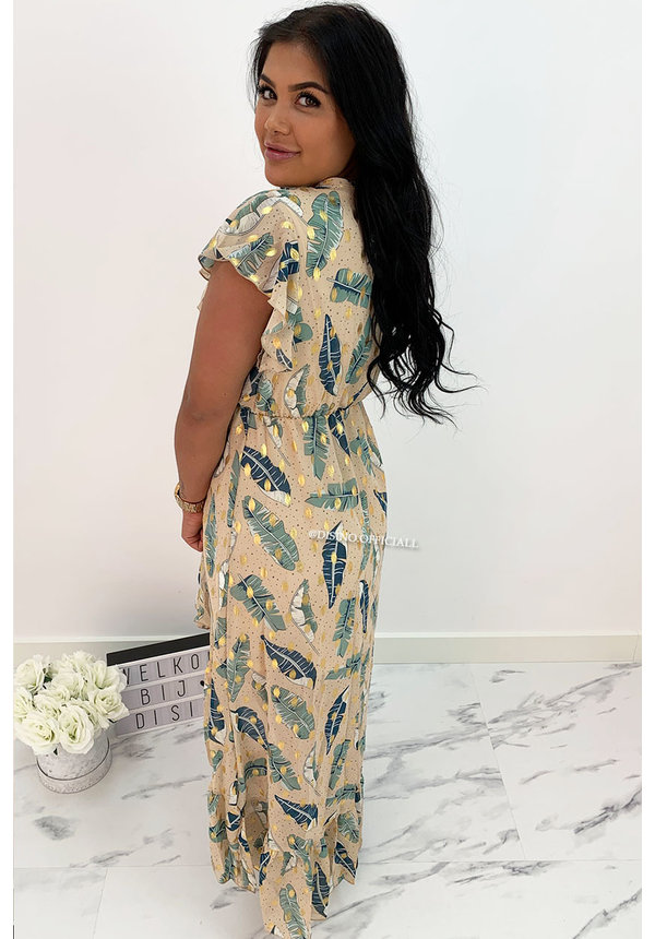 NUDE - 'PEARSON SPECTER' - GOLD DOTTED PALM LEAVES MAXI RUFFLE DRESS