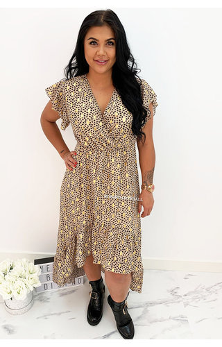 NUDE - 'PASCALLE' - PREMIUM QUALITY GOLD DOTTED LEOPARD RUFFLE MAXI DRESS