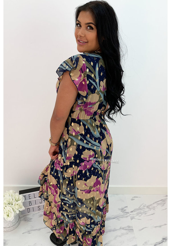 PURPLE - 'AUDREY' - GOLD DOTTED FLORAL MAXI RUFFLE DRESS