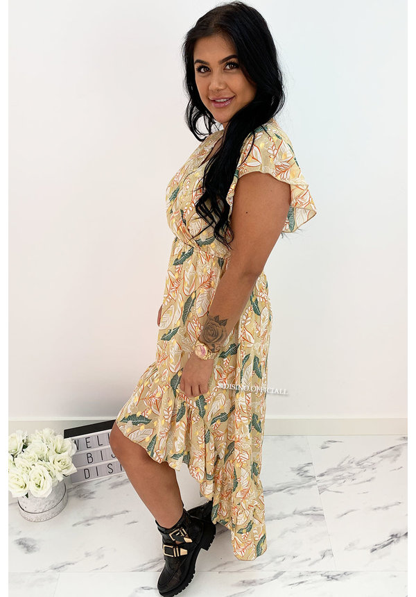 BEIGE - 'PEARSON SPECTER' - GOLD DOTTED PALM LEAVES MAXI RUFFLE DRESS