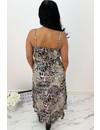 KHAKI GREEN - 'LEYLA MIDI' - SPAGHETTI BAND RUFFLE DRESS