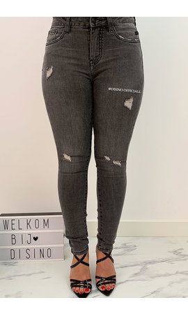 QUEEN HEARTS JEANS - GREY - PERFECT SKINNY ROLL UP - 708